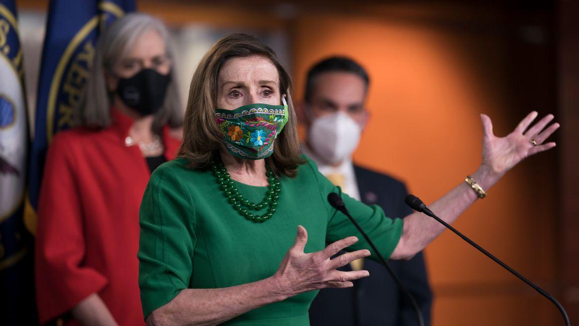 """Nancy Pelosi, representanthusets talman lovar att """"inte vila"""" förrän höjningen av den federala minimilönen blir verklighet. FOTO: J. Scott Applewhite."""