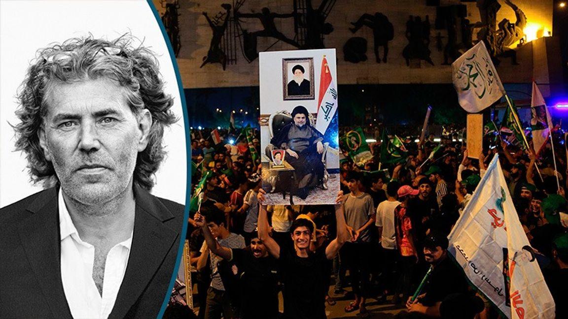 Anhängare till Muqtada al-Sadr firar i Bagdad efter det irakiska parlamentsvalet i oktober. Foto: Kar Gabor / Hadi Mizban/TT