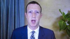 Mark Zuckerberg, vd för Facebook, när han vittnar inför den amerikanska senaten. Foto: Michael Reynolds/AP.
