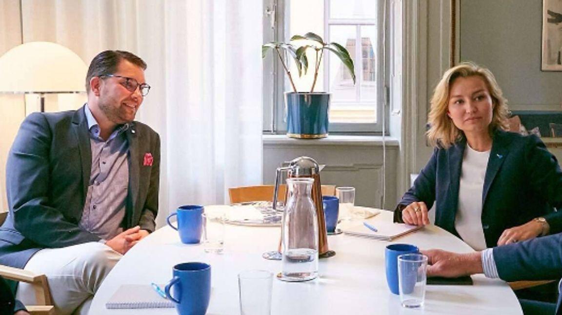 Möte mellan Sverigedemokraternas Jimmie Åkesson och Kristdemokraternas Ebba Busch. Foto: KD.