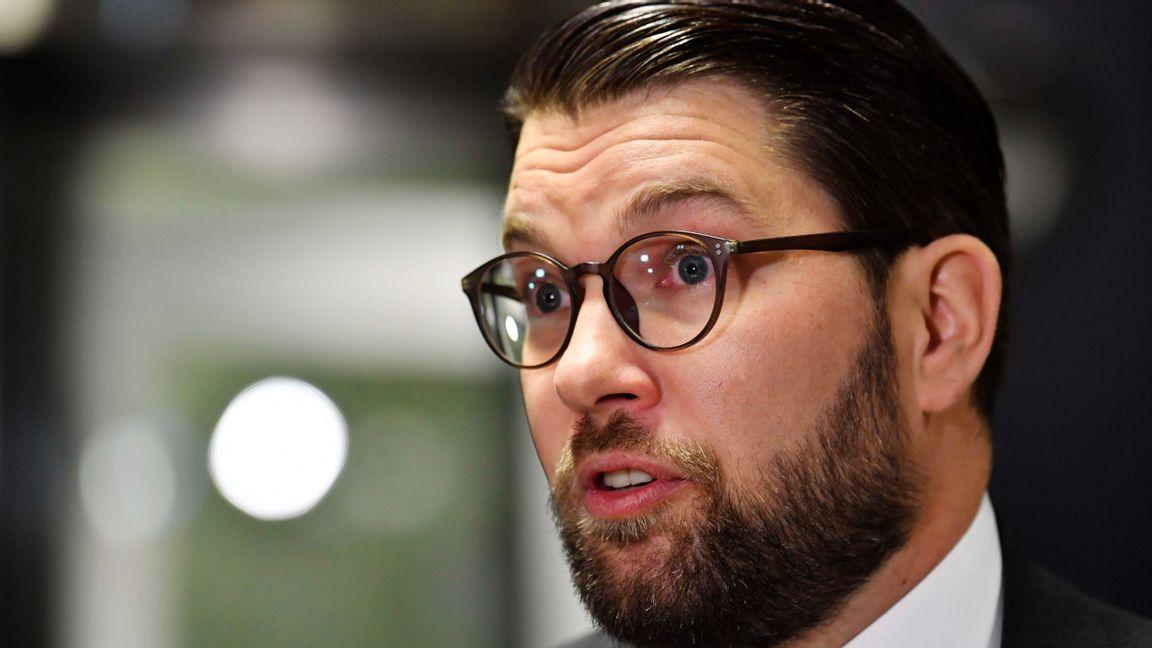 Sverigedemokraternas partiledare Jimmie Åkesson lockar allt fler väljare ur LO-leden. Foto: Jessica Gow, TT.
