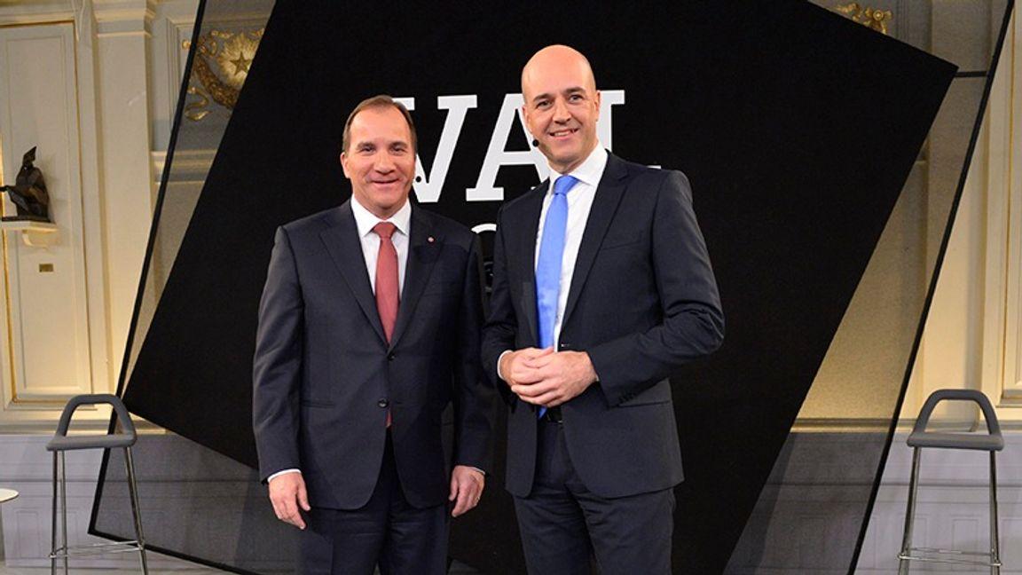 Statsminister Stefan Löfven (S) och företrädaren Fredrik Reinfeldt (M) har byggt arbetsmarknadspolitiken på subventionerade jobb. Foto: Henrik Montgomery, TT.