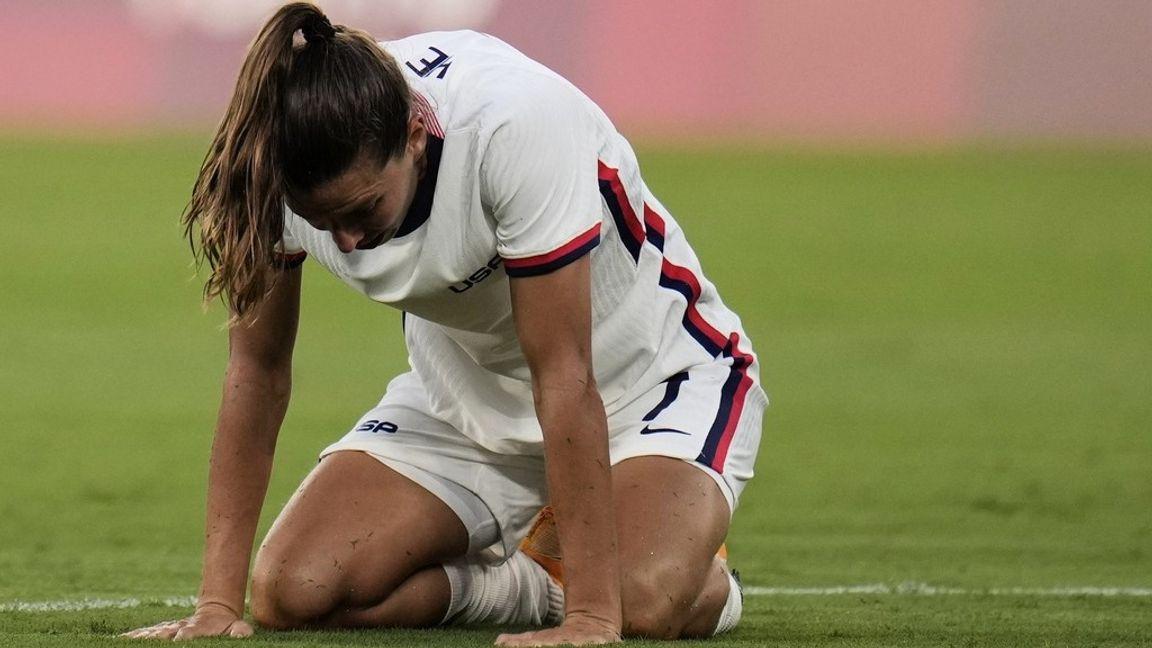 USA:s Tobin Heath deppar efter 0–3-förlusten mot Sverige. Foto: Ricardo Mazalan/AP/TT