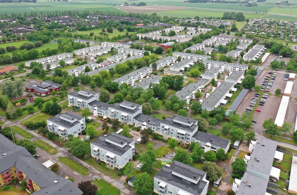 Flygbild över stadsdelen Skäggetorp, Linköping. Ett av de områden i Sverige som kämpar med sina integrationsproblem.  Foto: Jeppe Gustafsson.